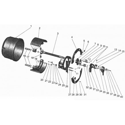 Накладки тормозные барабан АМАЗ 103/зад/комплект